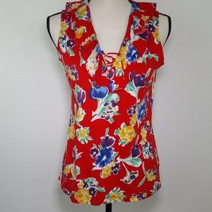 CHAPS Red Floral Sleeveless Top, size M